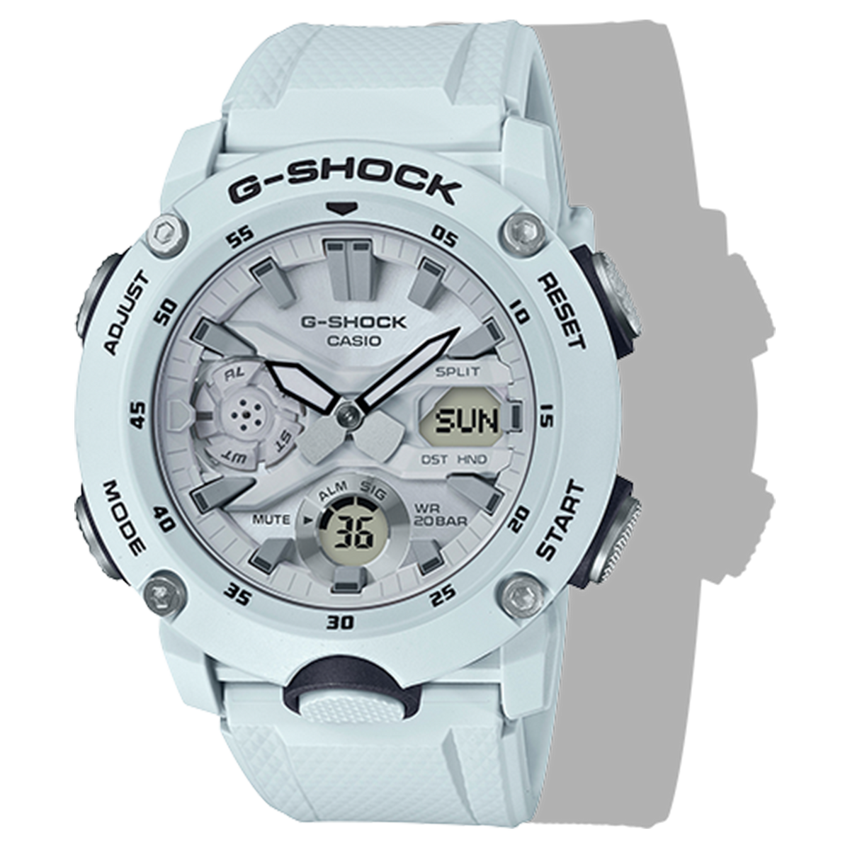 Casio G-Shock -  Ani/Digi - Carbon Core Guard - White