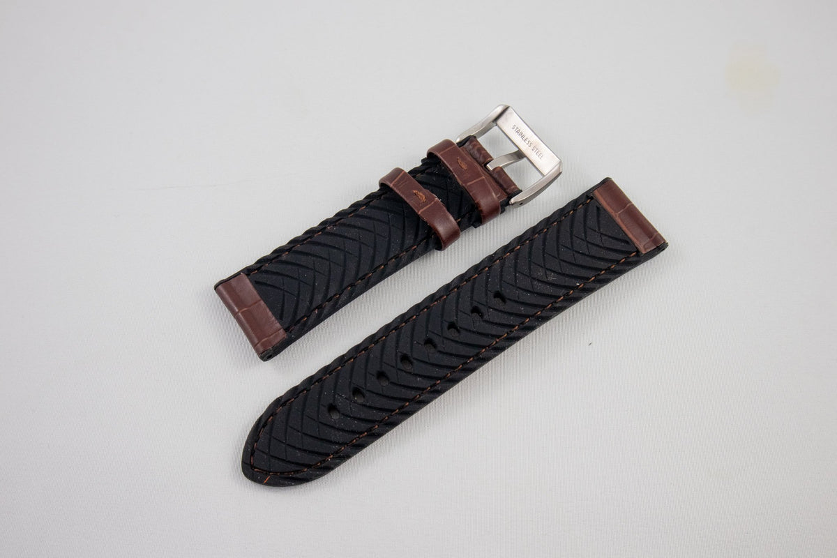 Alpine Watchstrap - Alligator Grain Leather w. Silicone lining