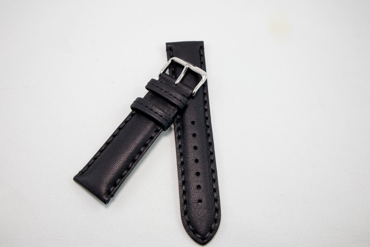 Alpine Watchstrap - Padded Double Stitched Bull Grain - Black