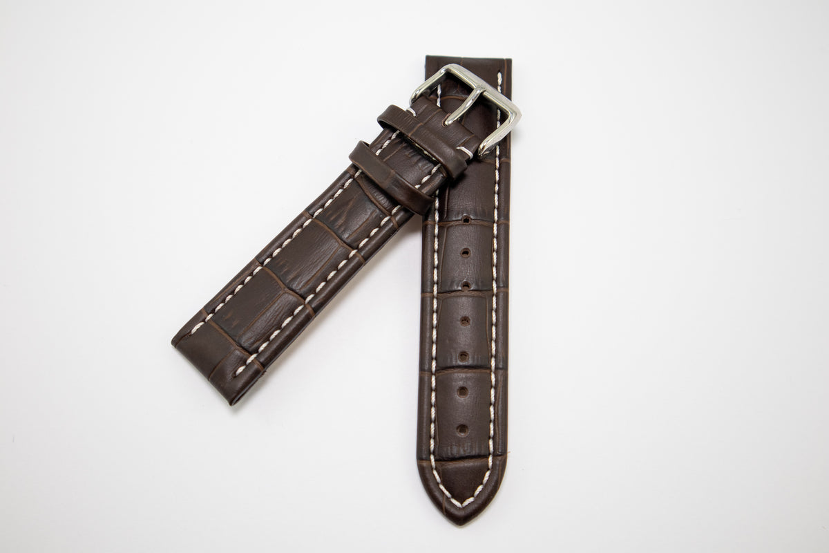 Condor Watchstrap - ALLIGATOR PRINT EMBOSSED LEATHER - Dark Brown