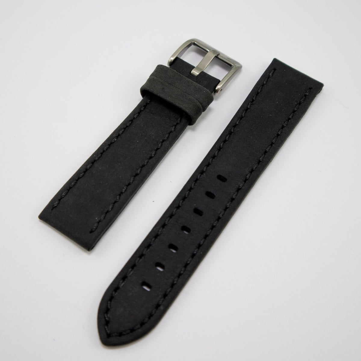 Condor Watchstrap - Padded Stitched Leather - Black