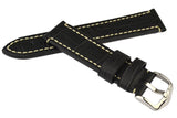 Hirsch KNIGHT Alligator Embossed Leather Watch Band in BLACK
