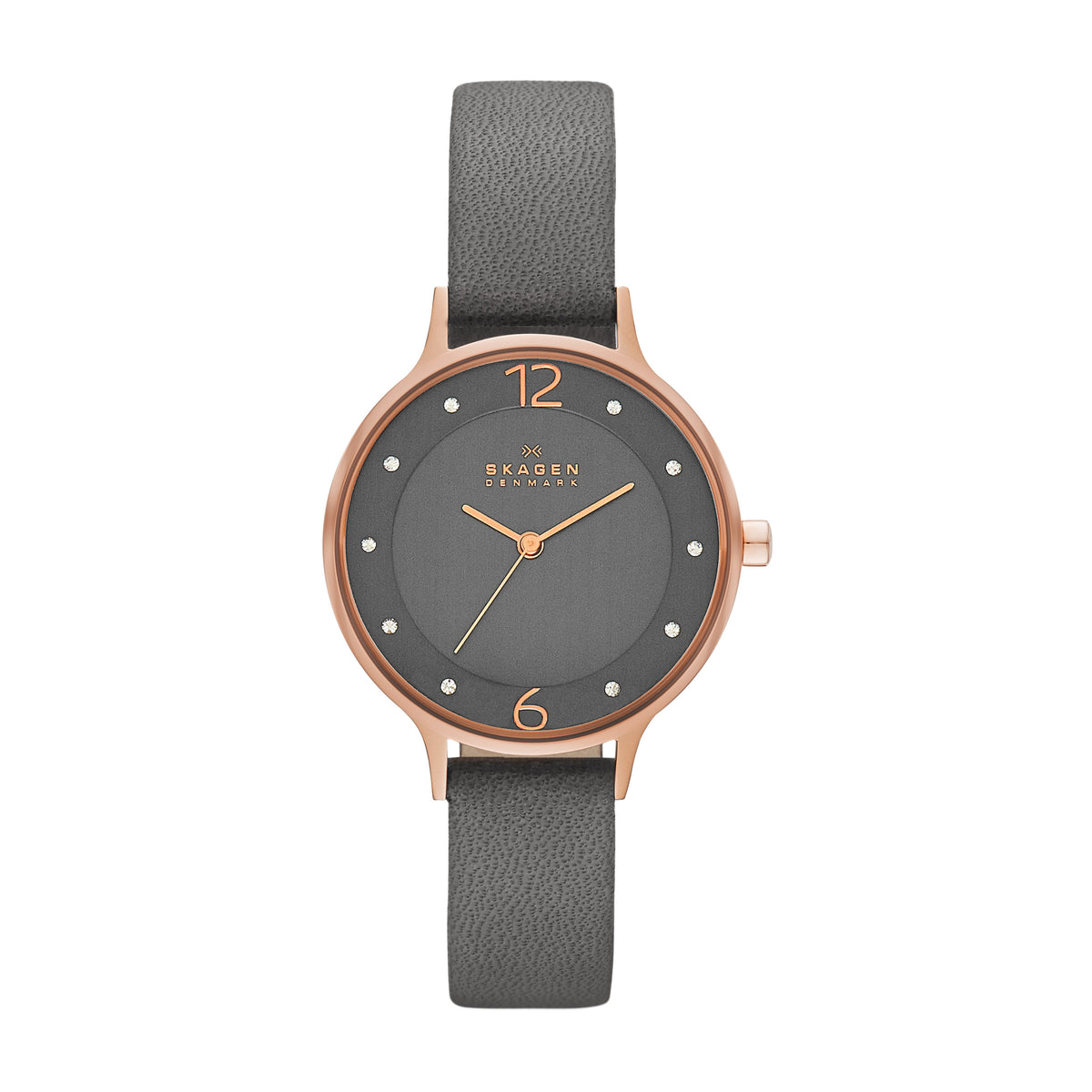 Skagen Anita - Rose Gold, Grey Leather Strap