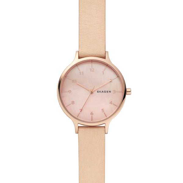 Skagen - Anita Mother-of-Pearl Nude Leather Watch