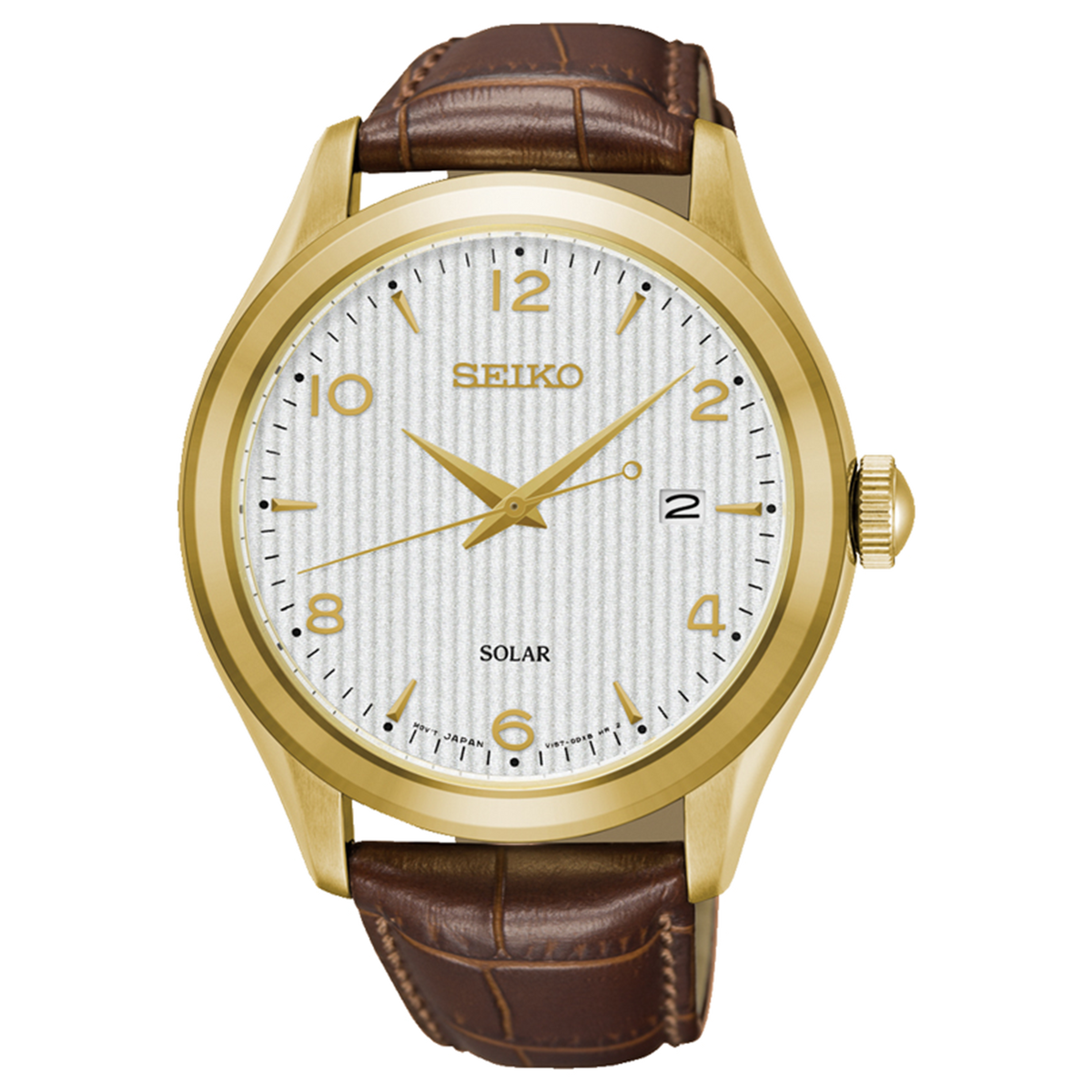 Seiko - G/T Solar Watch with Brown leather