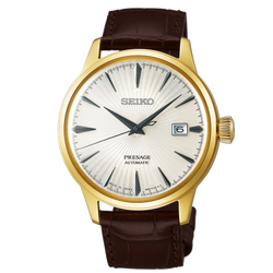 Seiko Presage Automatic - Cocktail Time Gold Tone with Brown Leather