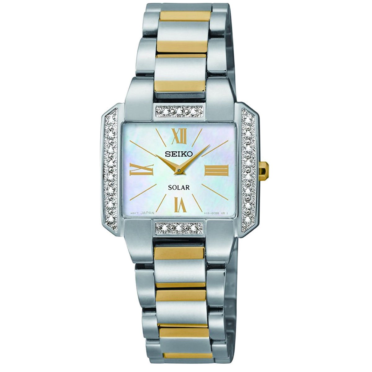 Seiko Watch Solar - Two Tone with Diamonds