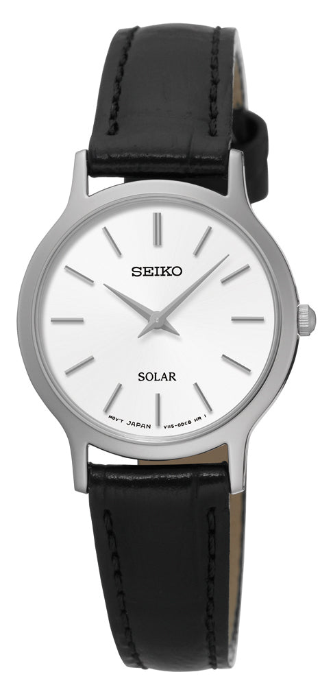 Seiko Watch Solar - Stainless Steel with Black Leather