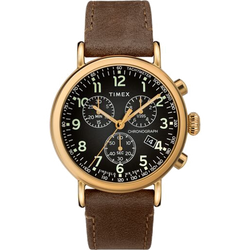 Timex - Standard Chronograph 41mm Leather Strap Watch