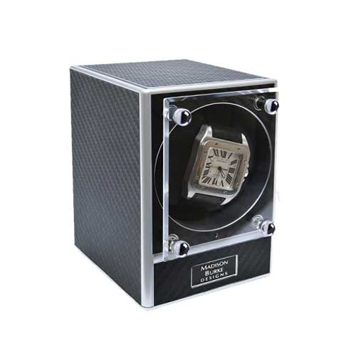 Madison Burke: MODULAR WATCH WINDER - BLACK W/CHROME