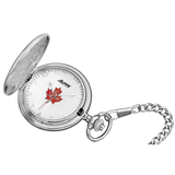 Alpine Quartz Pocket Watch - Silver with Maple Leaf