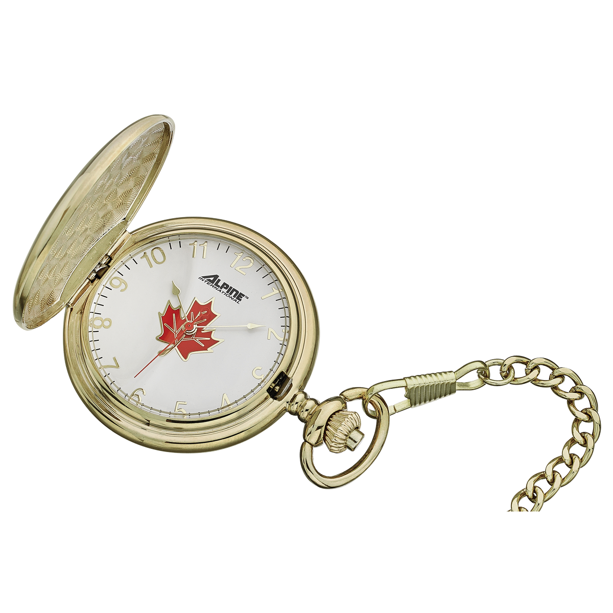Alpine Quartz Pocket Watch - Gold Tone with Maple Leaf