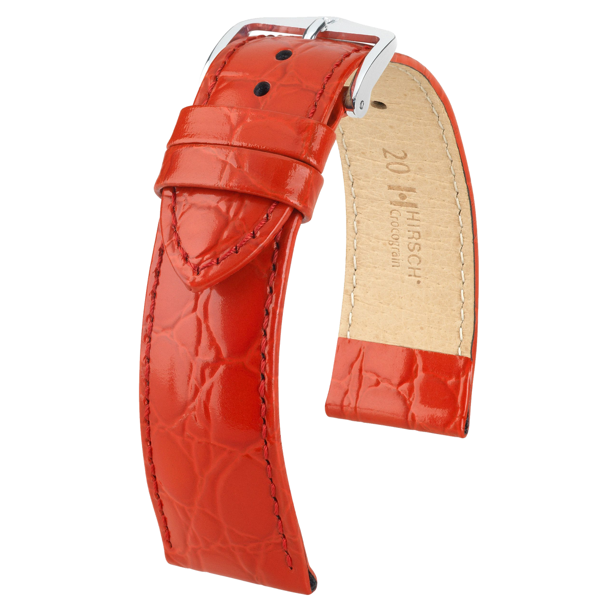 Hirsch CROCOGRAIN Crocodile Embossed Leather Watch Strap