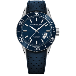 Raymond Weil Watch -FREELANCER Blue Dial Automatic Diver Watch, 42mm Steel on rubber strap