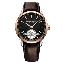 Raymond Weil Watch -FREELANCER Men's Automatic Open Aperture Watch, 42mm steel on steel, black dial, rose gold PVD