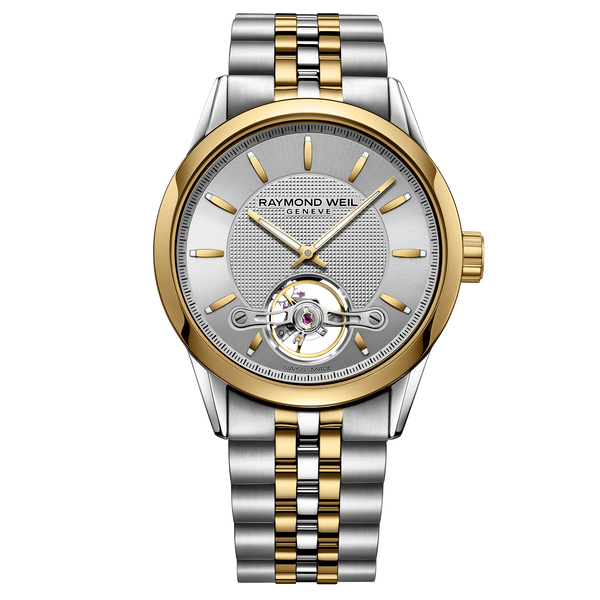 Raymond Weil Watch - FREELANCER Men's Automatic Open Aperture Watch, 42mm steel on steel, silver dial, yellow gold PVD
