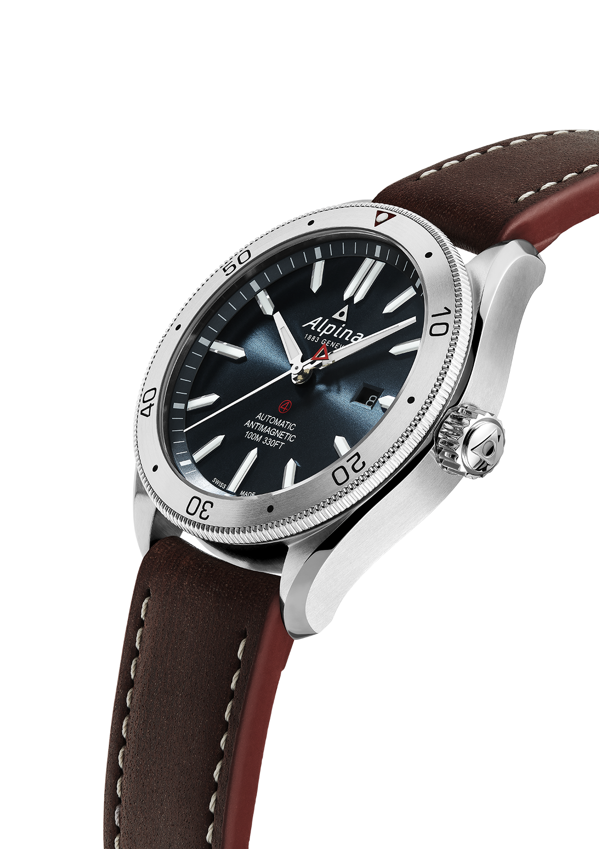 Alpina - ALPINER 4 AUTOMATIC - Blue Dial, Brown Leather