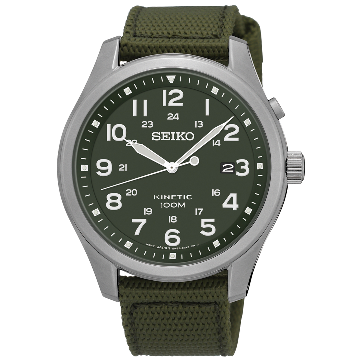 Seiko Watch Kinetic - Stainless Steel with green Nylon Strap