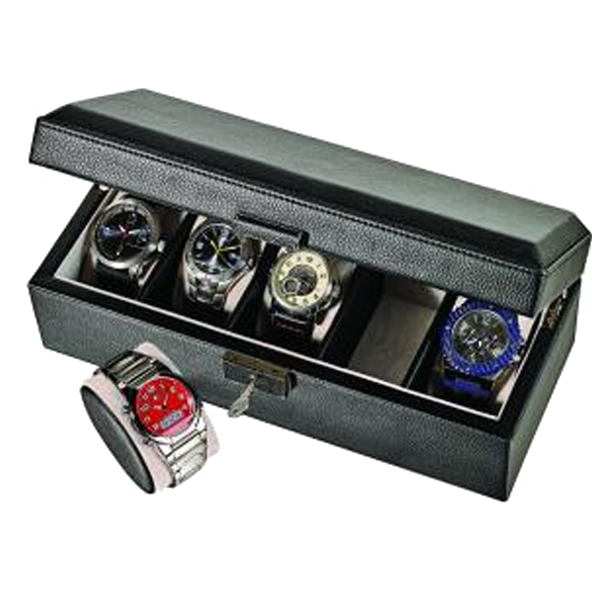 Alpine Black Leatherette Watch Box with Pocket (For 6 watches)