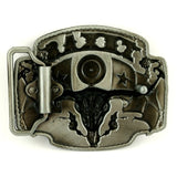 Mens Leather Belt and Texas Longhorn Belt Buckle