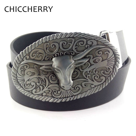 Men's Leather Belt with Vintage Bull  Big Belt Buckle