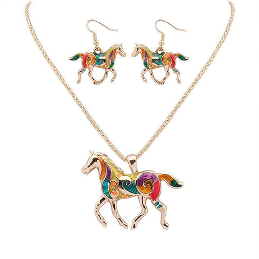Multi color Horse Necklace & Earring Set - Just pay shipping