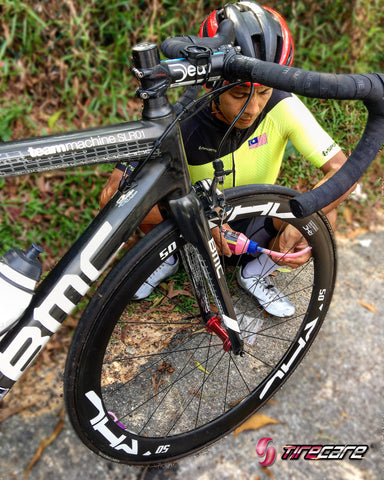Tire Sealant: Malaysia National Rider Amir Mustafa applied TireCare bicycle sealant