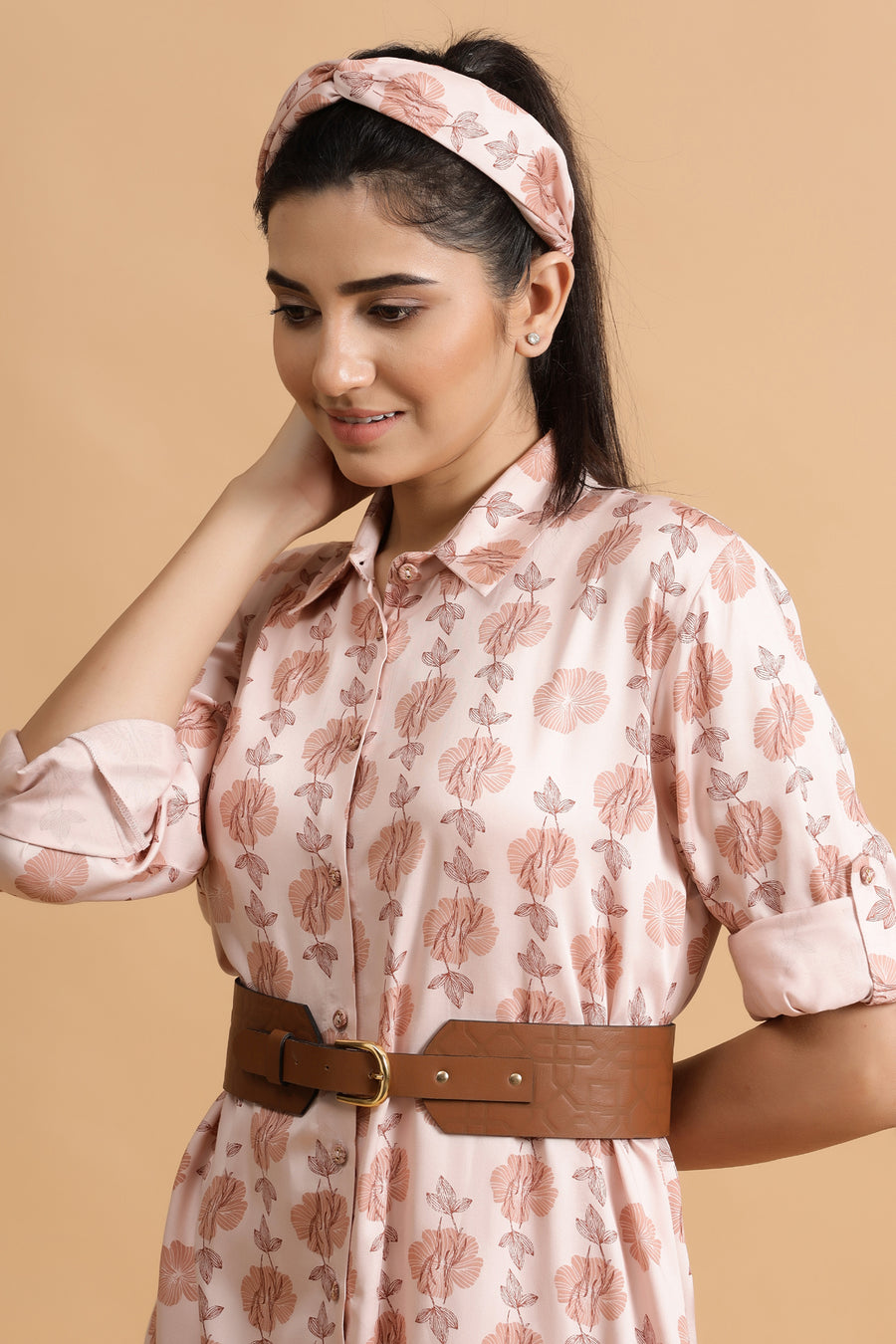 Cambridge Shirt Dress- Blush Jaal