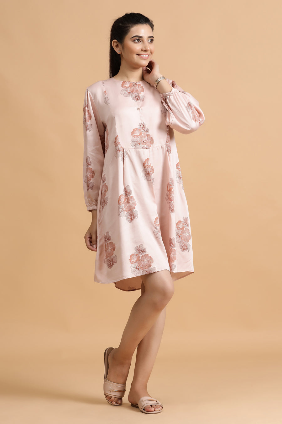 Ampney Short Dress- Blush Posy
