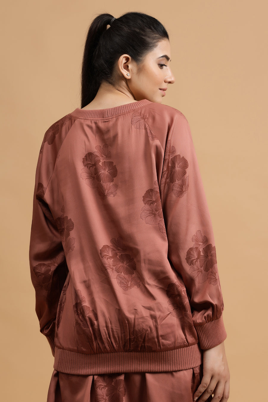 Camellia Sweat Top: Rust Posy