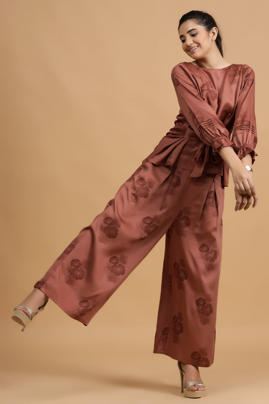 Durham Wide Pants -Rust Posy