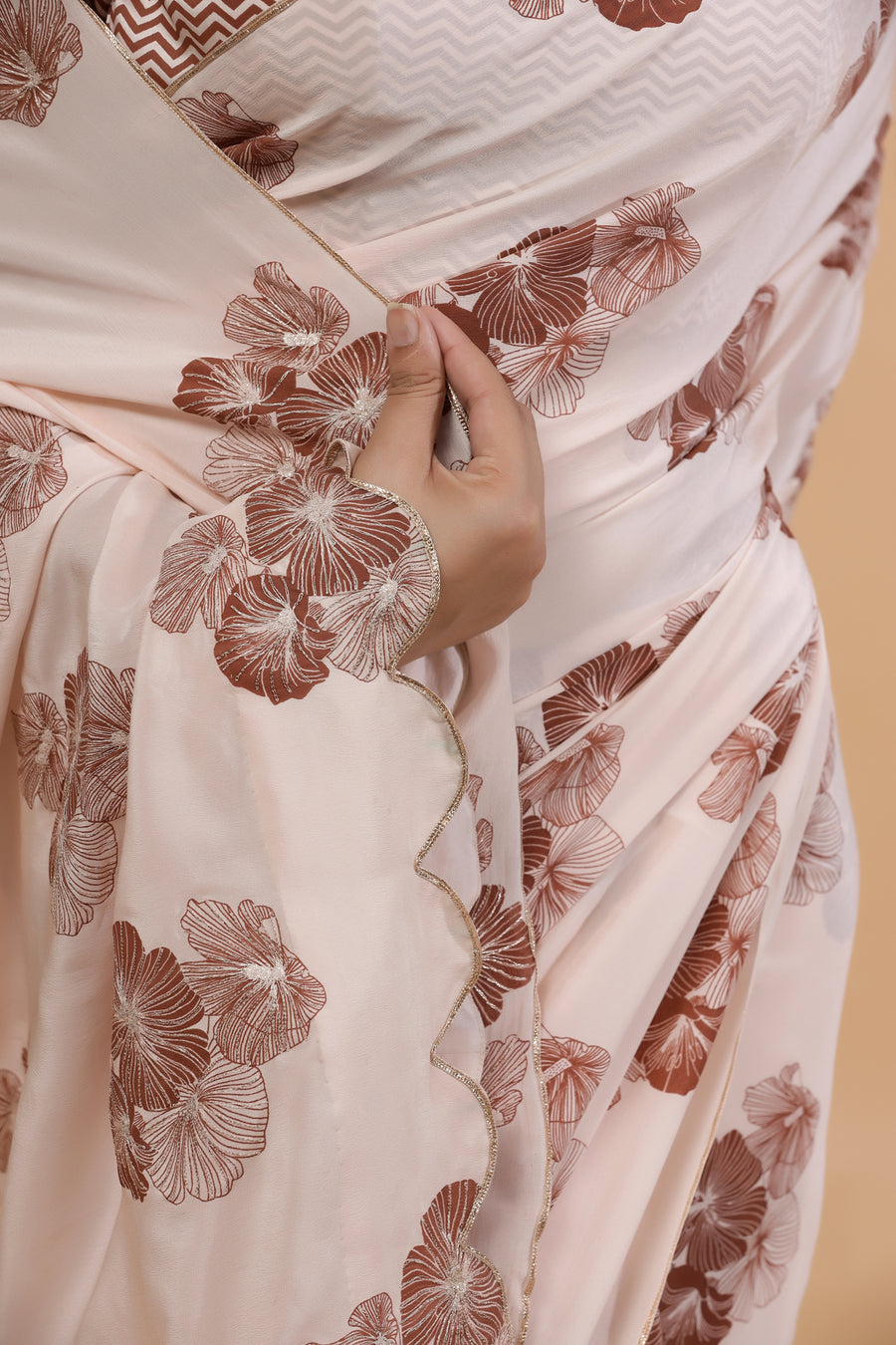 Blush Posy- Silk Crepe Saree
