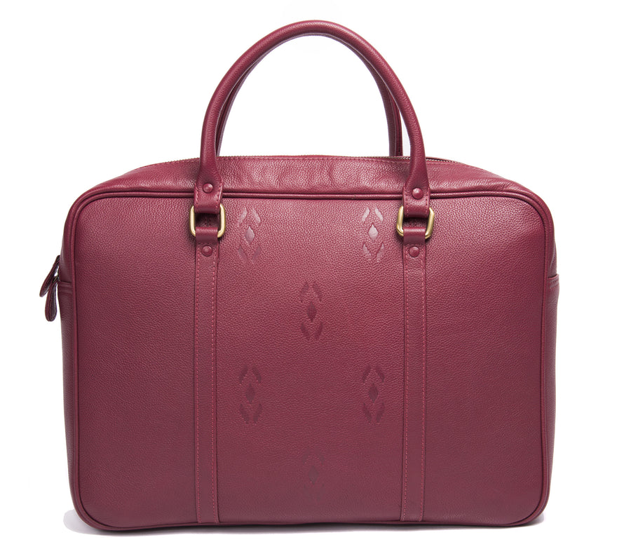 Maroon Leather briefcase- Ikat Imprints
