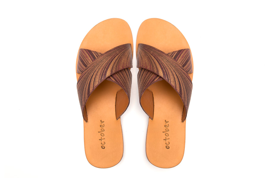 Criss Cross Slipper- Maroon Gold