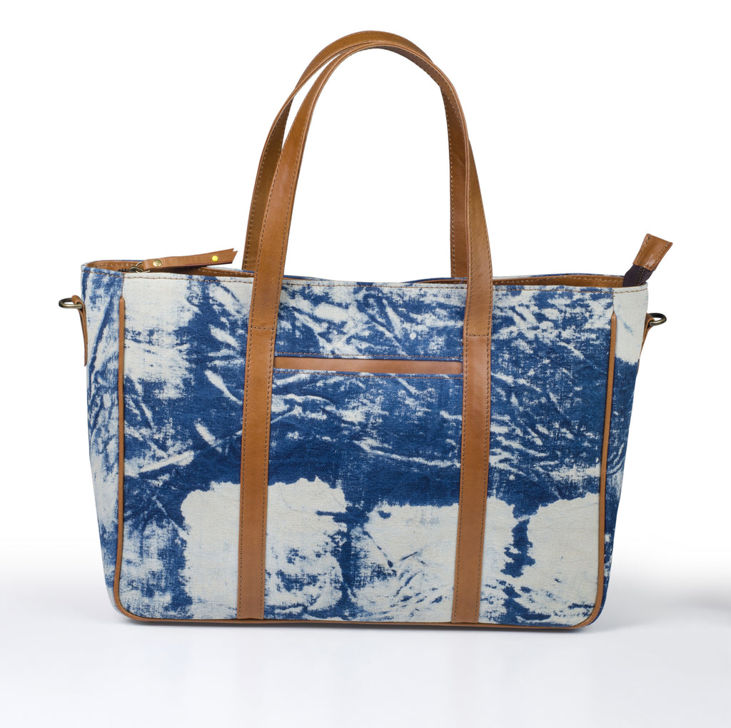 Office Handbag- Indigo Scratch