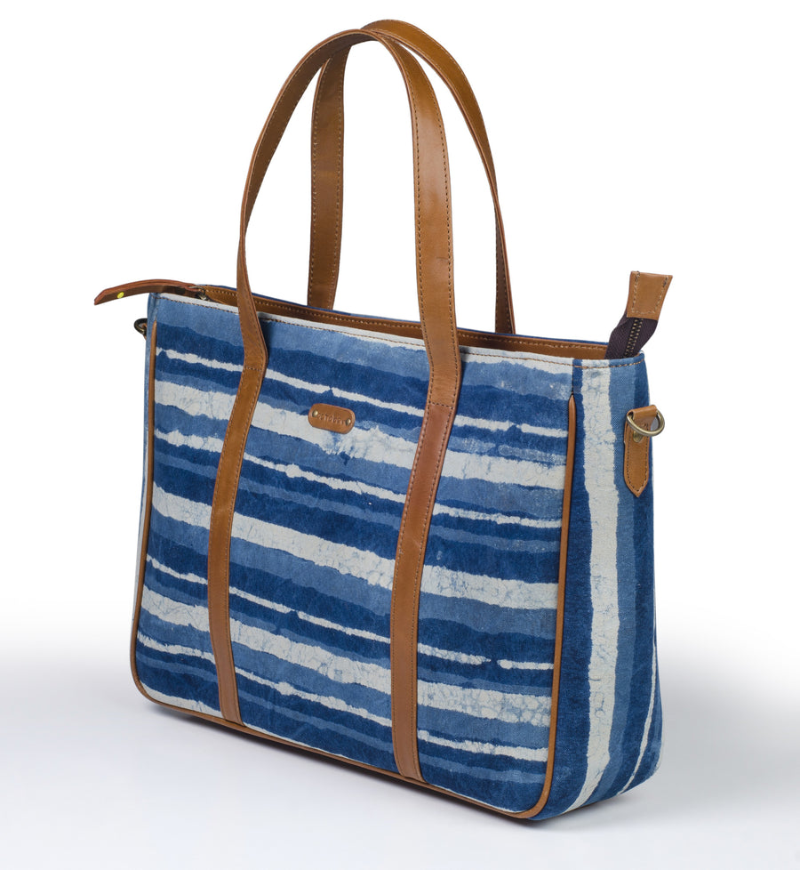 Office Handbag- Indigo Stripe
