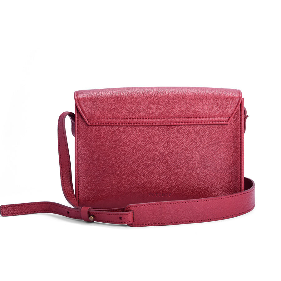MAROON LEATHER SATCHEL-THE MUSE