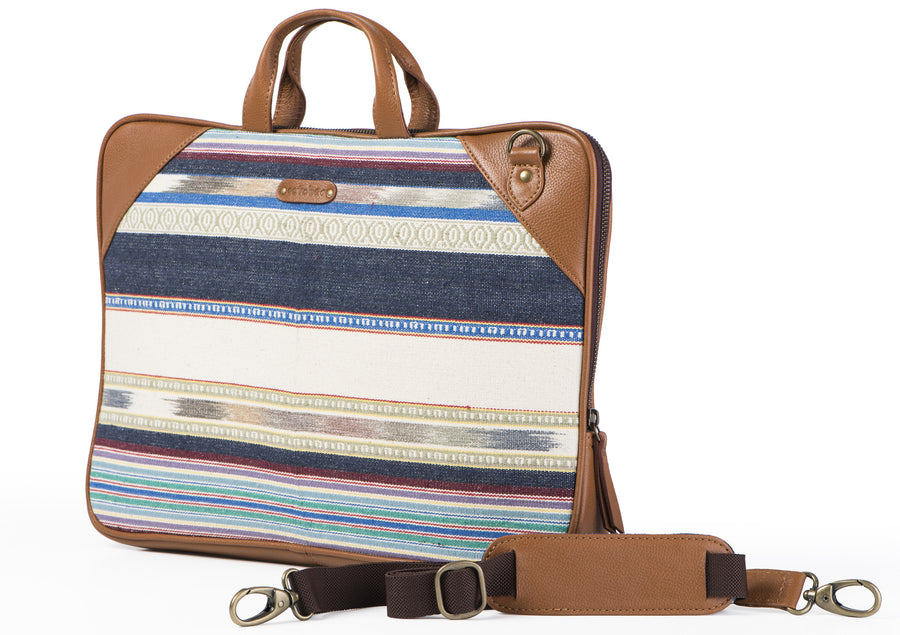 Laptop Bag - Blue and white stripe