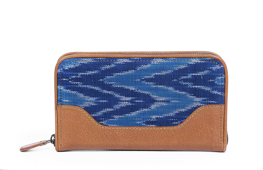 Brick Wallet- Blue Ikat