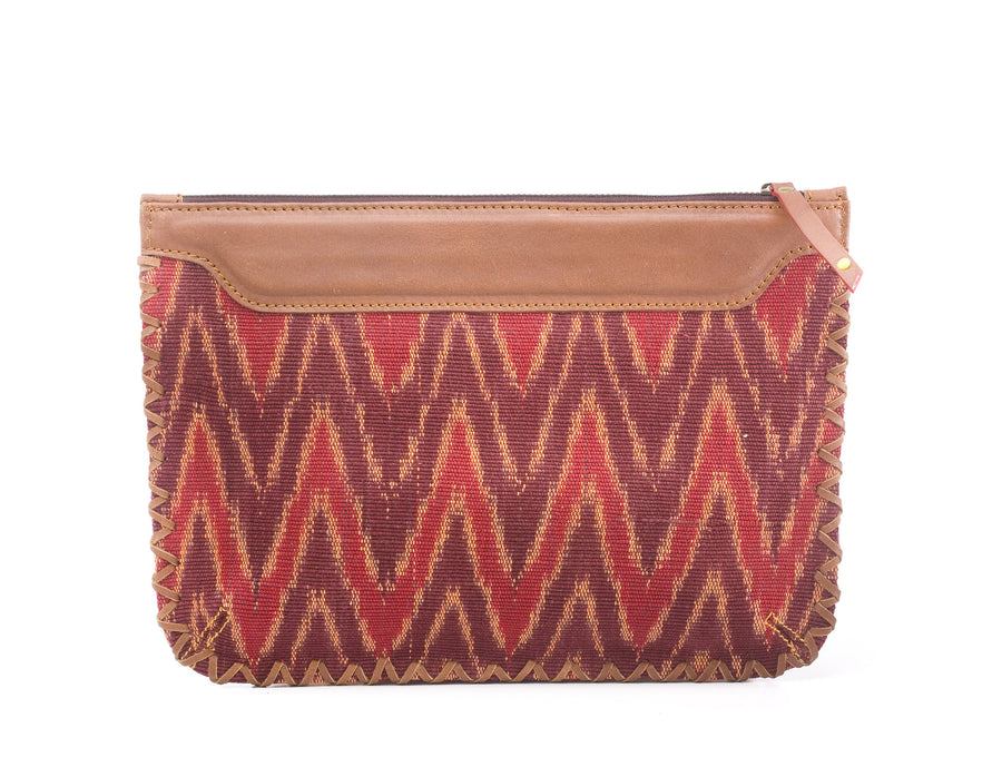 Woven Clutch- Red Ikat Durrie