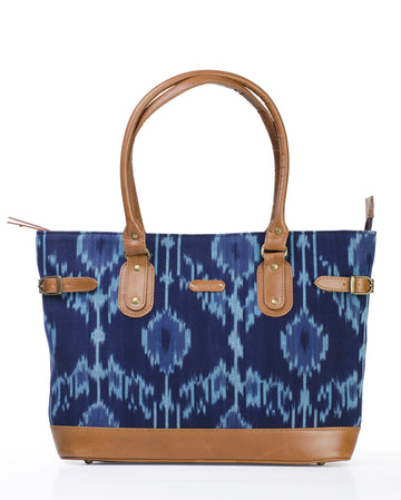 Tote - Blue Ikat Durrie