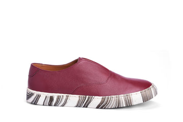 Sneakers- Maroon  Marbling Leather
