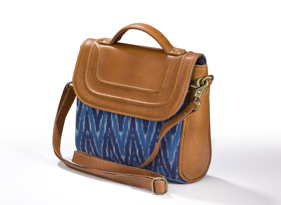 Sling Bag- Blue Ikat Durrie