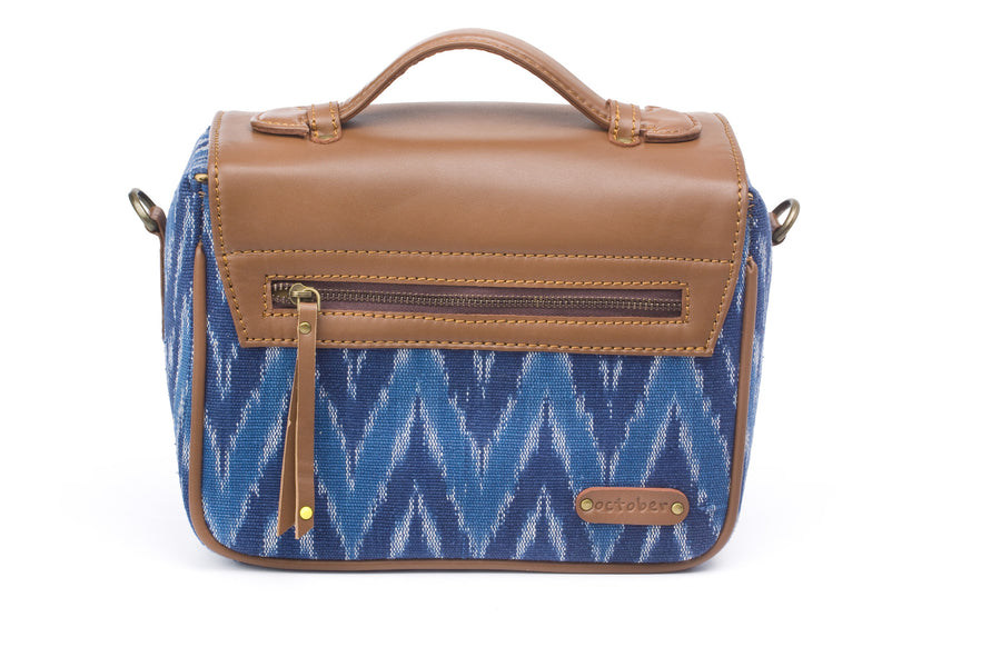 Camera Bag- Blue Ikat Durrie