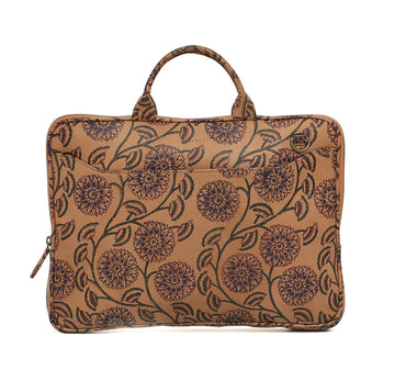 Block Printed  Leather laptop bag