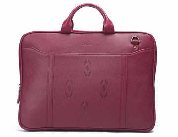 Maroon Leather laptop bag-Ikat imprints