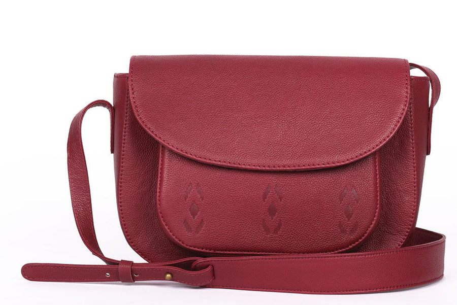 Maroon Leather Satchel- Ikat Imprints