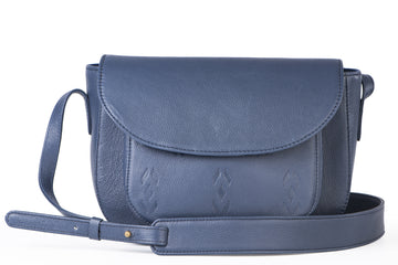 BLUE LEATHER SATCHEL- IKAT IMRINTS