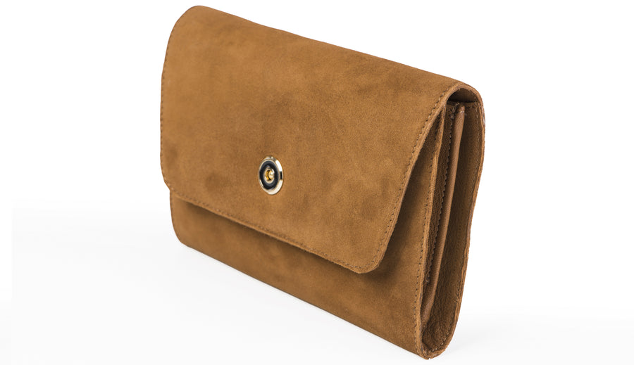 Suede clutch- Tan