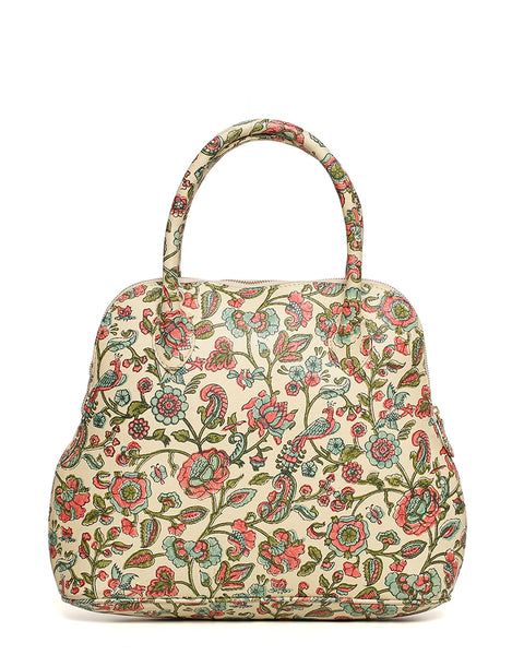 Leather Garden Tote- Cream
